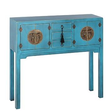 IXIA-Mueble Auxiliar - Recibidor Colección Oriente 4 Puertas y 3 Cajones color Azul - iBERGADA