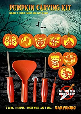 2016 Pumpkin Carving Kit with 12 Designs and 5 Tools