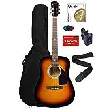 Fender FA-100 Dreadnought Acoustic Guitar - Sunburst Bundle with Gig Bag, Tuner, Strings, Strap, and Picks (Color: Sunburst, Tamaño: Accessory Bundle)