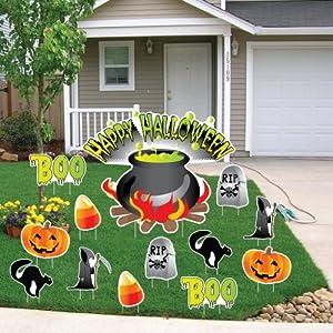 Happy Halloween Cauldron Halloween Lawn Decoration set of 13 w/ 24 Short Stakes