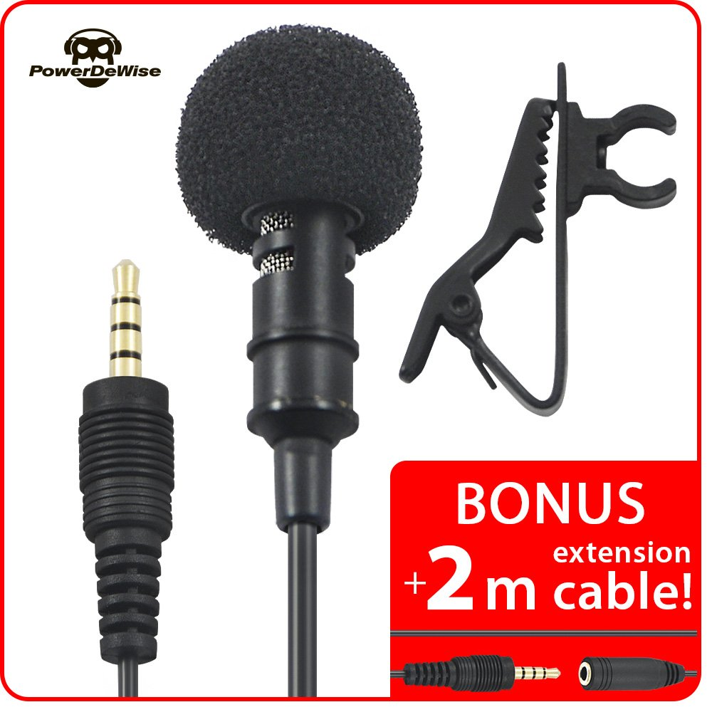 """Premium Lavailer microphone PowerDeWise + BONUS 78"""" (2m) extension cable - Best lapel clip on mic for iPhone, iPad, iPod, MacBook, Android, Windows smartphone voice recording with Deluxe case"""