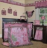 SISI Baby Girl Bedding - Pink Safari 15 PCS Crib Nursery Set