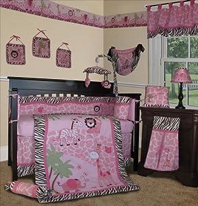 SISI Baby Girl Bedding - Pink Safari 14 PCS Crib Nursery Set Include Music Mobile