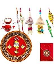 Ethnic Rakhi Fashionable And Stylish Rajasthani Colorful Floral Pattern Mauli Thread And Beads Rakhi And Traditional... - B01IIME82C