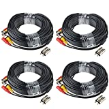 HIS VISION 4 Pack 100ft BNC Video Power Cable Security Camera Wire Cord Extension Cable with 8pcs BNC to RCA Connectors for CCTV System
