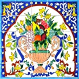Decorative Ceramic Tiles: Hand Painted Mosaic Mural Home Kitchen Backsplash Bath Flooring Patio Wall Art Décor 30 Inch x 30 Inch - New