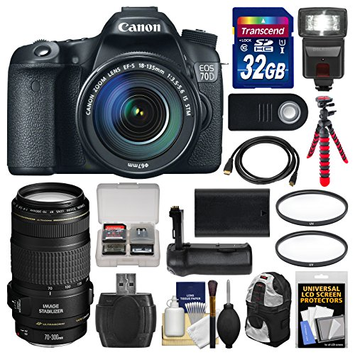 Canon EOS 70D Digital SLR Camera  &  EF-S 18-135mm IS STM Lens with 70-300mm IS Lens + 32GB Card + Backpack + Flash + Battery + Grip + Tripod Kit