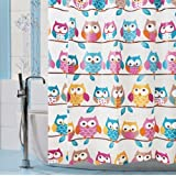 "Fashion Design High qulity 71""x71"" OWL pattern Shower Curtain + set of 12 unbreakable shower curtain hooks"