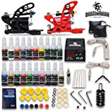 Complete Tattoo Kit 2 Machine Tattoo Gun Power Supply Needles 20 Inks