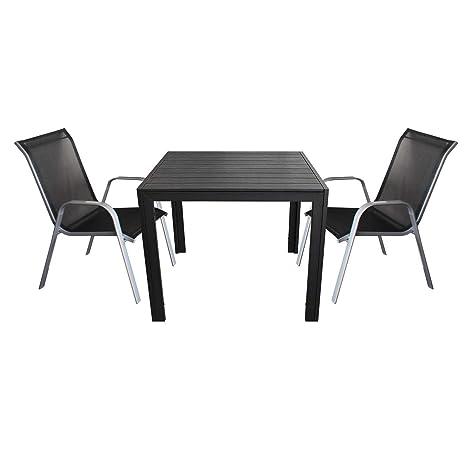3tlg. Terrassenmöbel Set - Polywood Gartentisch 90x90cm + 2x Stapelstuhl mit Textilenbespannung - Sitzgruppe Bistrogarnitur Sitzgarnitur Gartengarnitur Gartenmöbel