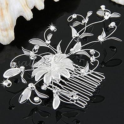v v facilla peigne a a cheveux mariage soiree fleur plaque d 39 argent strass pour pour. Black Bedroom Furniture Sets. Home Design Ideas