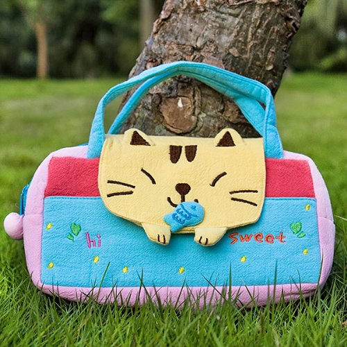 [Sweet Cat] Embroidered Applique Kids Mini Handbag / Cosmetic Bag / Travel Wallet (7.8*5.5*1.4)