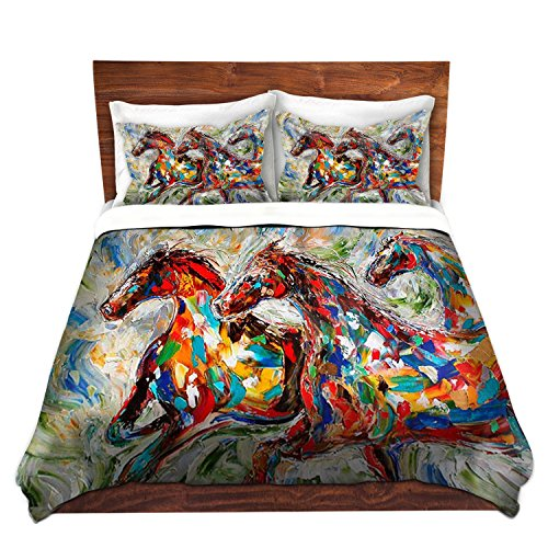 Duvet Cover Brushed Twill Twin, Queen, King from DiaNoche Designs by Karen Tarlton Home Decor and Bedding Ideas - Abstract Wild Horses