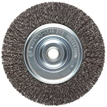 Weiler Vortec Pro Medium Face Wire Wheel Brush, Round Hole, Carbon Steel, Crimped Wire, 6&#034; Diameter, 0.014&#034; Wire Diameter, 5/8-1/2&#034; Arbor, 1-7/16&#034; Bristle Length, 3/4&#034; Brush Face Width, 6000 rpm