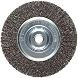 "Weiler Vortec Pro Medium Face Wire Wheel Brush, Round Hole, Carbon Steel, Crimped Wire, 6"" Diameter, 0.014"" Wire Diameter, 5/8-1/2"" Arbor, 1-7/16"" Bristle Length, 3/4"" Brush Face Width, 6000 rpm"