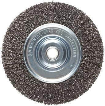 """Weiler Vortec Pro Medium Face Wire Wheel Brush, Round Hole, Carbon Steel, Crimped Wire, 6"""" Diameter, 0.014"""" Wire Diameter, 5/8-1/2"""" Arbor, 1-7/16"""" Bristle Length, 3/4"""" Brush Face Width, 6000 rpm"""