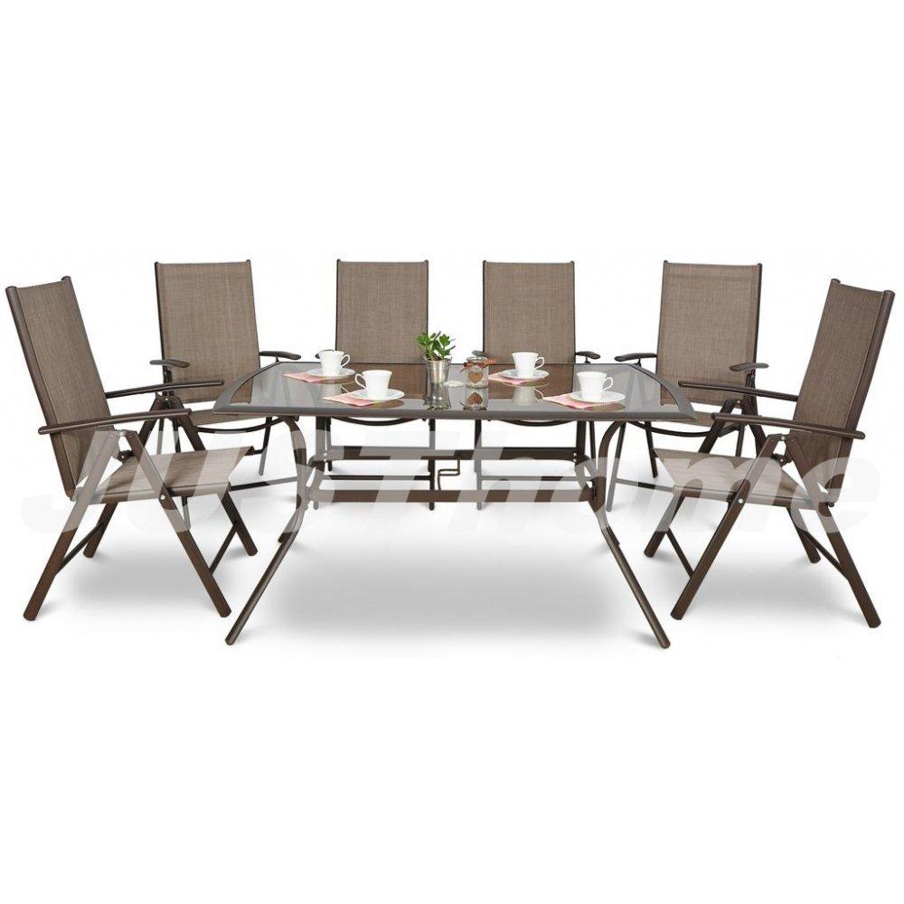 JUSThome Gartenmöbel Sitzgruppe Gartengarnitur Alu 150/010 6x Stuhl + Glastisch Farbe: Braun jetzt kaufen