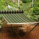 Algoma Green Striped Quilted Hammock with Pillow