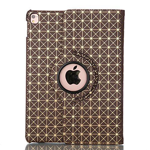 ipad Pro 9.7 case, PU Leather Grid Line 360 Degree Roating for Apple ipad Pro 9.7 Inch Case 2016 with Auto Sleep / Wake Feature for ipad Pro 9.7 ( Grid Gloden )