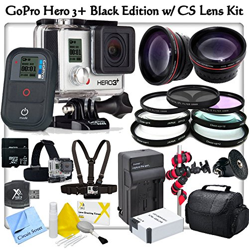 Gopro Hero3+: Black Edition With Cs Outdoor Adventure Kit: Includes Gopro Gchm30-001 Chest Mount Harness, Gopro Ghds30 Head Strap Mount, 2X 64Gb Microsd Memory Cards, High Definition Wide Angle Lens, Telephoto Hd Lens, 3 Piece Filter Kit, 4 Piece Macro Cl
