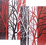 3-panel Double Sided Painting Canvas Room Divider Screen, Black Red White Tree