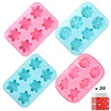 YGEOMER 4 6-Cavity Christmas Silicone Snowflake Soap Molds, 22 Patterns for Making Fondants, Cakes, Handmade Soaps (Color: Christmas)
