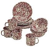 Enamelware 16 Piece Dinnerware Starter Set - Burgundy/Cream Marble