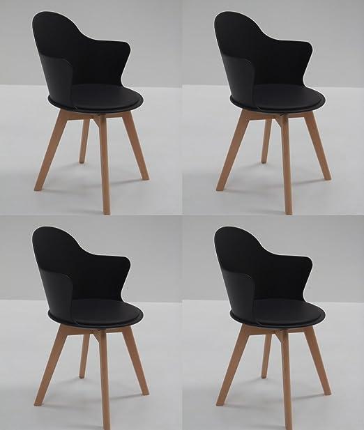 Conjunto de 4 sillas de comedor moderno GREGORY cabina nero con patas en madera maciza de haya