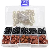BESTCYC 1 Box (130pocs) 8~16mm Black and Brown Plastic Safety Nose D-type for Doll Teddy Puppet Making