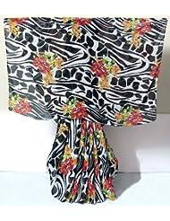 Red Floral Design on Black and White Chiffon Saree - Chiffon