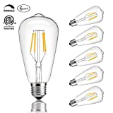 CMYK Vintage Edison LED Bulb, Dimmable 4W ST64 Antique LED Bulb Squirrel Cage Filament Light For Decorate Home, 40W Incandescent Bulbs Equivalent, E26, 2200K, Warm White, Pack of 6 (Color: Warmwhite(2200K))