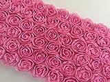 デコレーション 立体 チュール レース ハンドメイド アクセサリー ドレス シフォン 薔薇 モチーフ 携帯 ミニバラ 裁縫 180cm 6列 (ピンク)