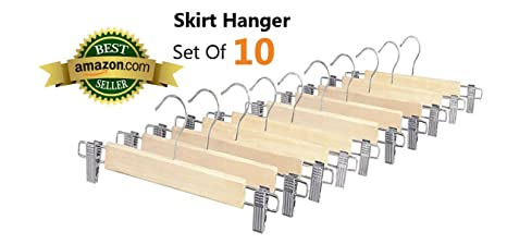 Whitmor 6026-341 Natural Wood Collection Skirt Hangers Set of 10