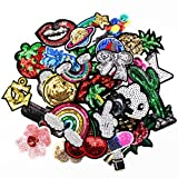 30 Pcs/lot Sequin Patches Iron on Applique for Jacket Jeans Backpack Stickers Girl's Sewing Supplies Cloth Decoration (Tamaño: 30pcs Sequin Patches)