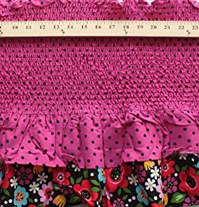 Pre-Smocked Black Dots Tiered Ruffle Band Shirred Sundress Fabric Print D781.10