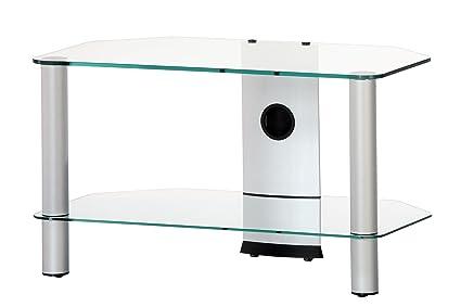 NEO 270-TG - Mueble de TV con 2 estantes y 70 cms de ancho. Vidrio Transparente / Chasis gris.