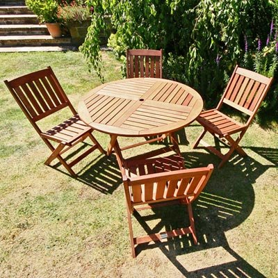 BillyOh Elegance 1m Round Folding 4 Seater Wooden Garden Furniture Set