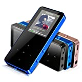 MP3 Player - HonTaseng Portable Metal Touch Button Music Player, Build-In Speaker Lossless Sound 30 Hours Playback With FM Radio And Voice Recorder, Expandable 64GB SD Card With Armband (Blue)