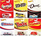 Hot Wheels Pop Culture Mars Candy Series Complete Set of 6! - Skittles Quick D-Livery, M&M's Volkswagen Drag Bus, Dove '49 Ford F1, 3 Musketeers '55 Chevy Panel, Twix Combat Medic, Starburst '66 Dodge A100