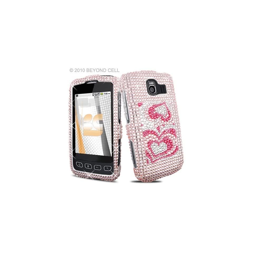 LG Optimus S U LS670 LS 670 UX 670 UX670 Cell Phone Full Crystals Diamonds Bling Protective Case Cover Silver with 3D Pink Love Hearts Spade Design