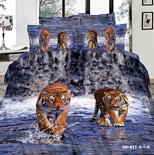 Queen King Size 100% Cotton 7-Pieces 3D Two Tigers Walk In The Blue Water River Animal Prints Fitted Sheet Set With Rubber Around Duvet Cover Set/Bed Linens/Bed Sheet Sets/Bedclothes/Bedding Sets/Bed Sets/Bed Covers/ Comforters Sets Bed In A Bag (King) front-689438