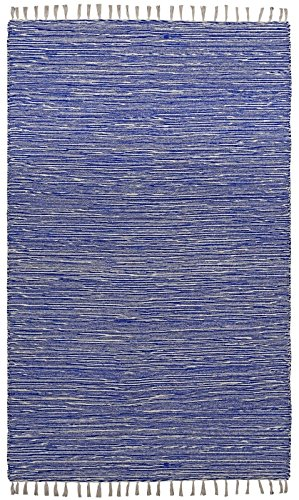Complex Chenille Flat Weave Rug, 3-Feet by 5-Feet, Blue