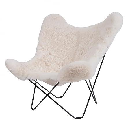 Iceland Mariposa Butterfly Chair white/icelandic lambskin/frame black