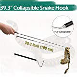 IC ICLOVER Collapsible Snake Hook Extend to 39.3 inch for Catching, Controlling, or Moving Snakes, Telescoping Pocket Retractable Stainless Steel Reptile Hook with Non-Slip Handle for Small Pet Snake (Color: 1 PACK)