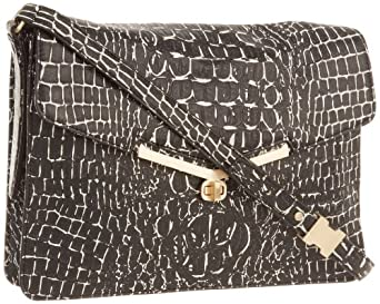 botkier Valentina 1314253-HN-BWC Shoulder Bag,Black/White Croc,One Size