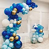 100Pcs Blue Gold White Balloon Garland & Arch Kit-100pcs Latex Balloons, 16 Feets Arch Balloon Strip Tape, Glue Dots, Tying Tool for Baby Shower Birthday Wedding Party Backdrop (Color: Blue Dark Blue White Gold)