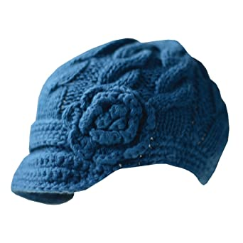 Hand Knitted Newsboy Hat with Short Soft Visor with Side Flower Embellishment
