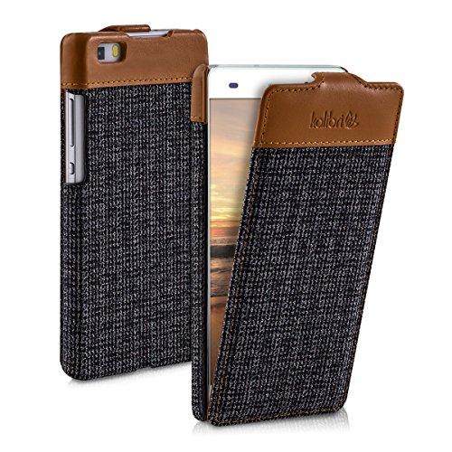 kalibri-Flip-Case-Hlle-Emma-fr-Huawei-P8-Lite-Aufklappbare-Stoff-und-Echtleder-Schutzhlle-Tasche-im-Flip-Cover-Style-in-Braun-Anthrazit
