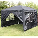 ANDES 3M X 3M FOLDING GAZEBO SIDE WALL PACK 1 DOOR, 2 WINDOWS, 1 WALL BLACK