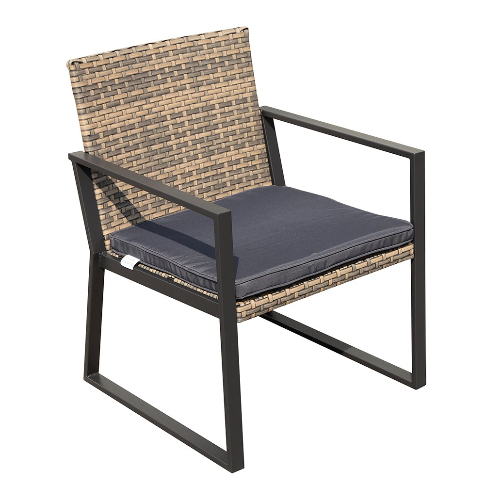 PATIOROMA 4 Pieces Rattan Conversation Set Patio Table and Chairs with Seat Cushions, Outdoor PE Wicker, Gradient Brown